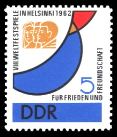 5 Pf Briefmarke: VIII. Weltfestspiele in Helsinki 1962