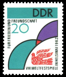 20 Pf Briefmarke: VIII. Weltfestspiele in Helsinki 1962
