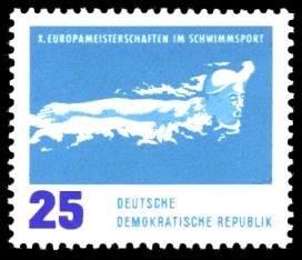 25 Pf Briefmarke: X. Europameisterschaften im Schwimmsport