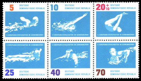Briefmarke: Sechserblock: X. Europameisterschaften im Schwimmsport