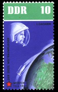10 Pf Briefmarke: 5 Jahre sowjetische Weltraumflüge