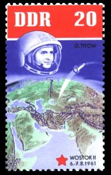 20 Pf Briefmarke: 5 Jahre sowjetische Weltraumflüge