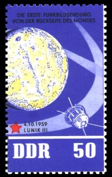 50 Pf Briefmarke: 5 Jahre sowjetische Weltraumflüge