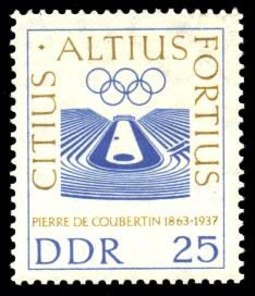 25 Pf Briefmarke: 100. Geburtstag P. de Coubertin