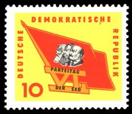 10 Pf Briefmarke: 6. Parteitag der SED