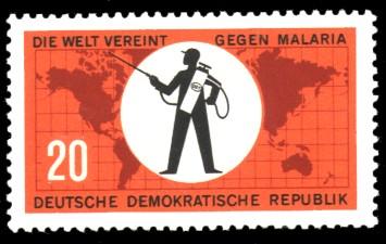 20 Pf Briefmarke: Die Welt vereint gegen Malaria