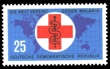 25 Pf Briefmarke: Die Welt vereint gegen Malaria