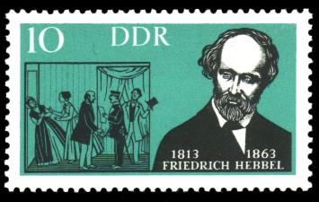 10 Pf Briefmarke: Berühmte deutsche Künstler, Friedrich Hebbel