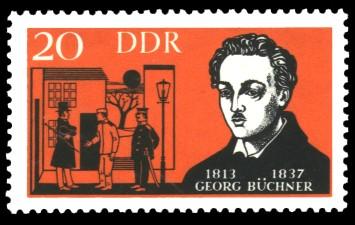 20 Pf Briefmarke: Berühmte deutsche Künstler, Georg Büchner
