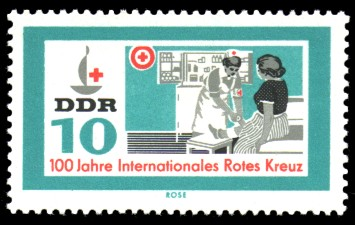 10 Pf Briefmarke: 100 Jahre Internationales Rotes Kreuz