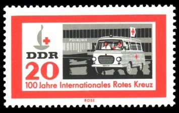 20 Pf Briefmarke: 100 Jahre Internationales Rotes Kreuz