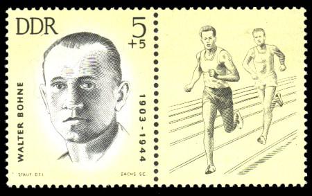 5 + 5 Pf Briefmarke: Antifaschisten - Sportler, Walter Bohne