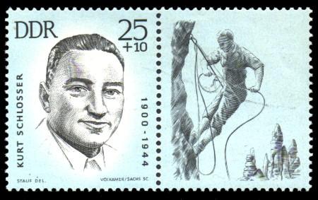 25 + 10 Pf Briefmarke: Antifaschisten - Sportler, Kurt Schlosser