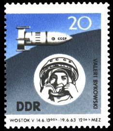 20 Pf Briefmarke: 2. sowjetischer Gruppenflug in den Kosmos