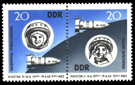 20 Pf / 20 Pf Briefmarke: Zusammendruck: 2. sowjetischer Gruppenflug in den Kosmos