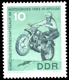 10 Pf Briefmarke: 2. Weltmeisterschaftslauf im Motocross