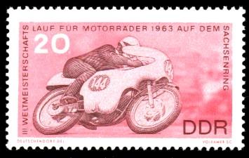 20 Pf Briefmarke: 3. Weltmeisterschaftslauf für Motorräder