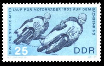 25 Pf Briefmarke: 3. Weltmeisterschaftslauf für Motorräder