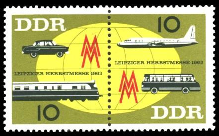10 Pf / 10 Pf Briefmarke: Zusammendruck: Leipziger Herbstmesse 1963