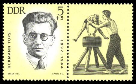 5 + 5 Pf Briefmarke: Antifaschisten - Sportler, Hermann Tops