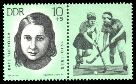 10 + 5 Pf Briefmarke: Antifaschisten - Sportler, Käte Tucholla