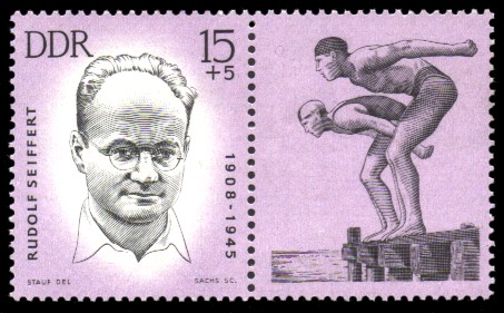 15 + 5 Pf Briefmarke: Antifaschisten - Sportler, Rudolf Seiffert