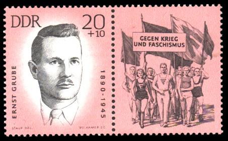 20 + 10 Pf Briefmarke: Antifaschisten - Sportler, Ernst Grube