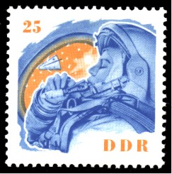 25 Pf Briefmarke: W. Tereschkowa in der DDR