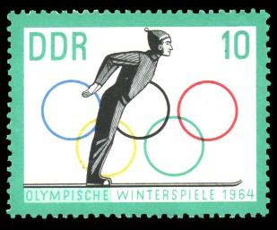 10 Pf Briefmarke: Olympische Winterspiele 1964