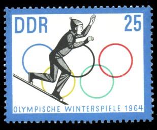 25 Pf Briefmarke: Olympische Winterspiele 1964