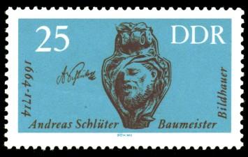 25 Pf Briefmarke: Berühmte Künstler, Andreas Schlüter