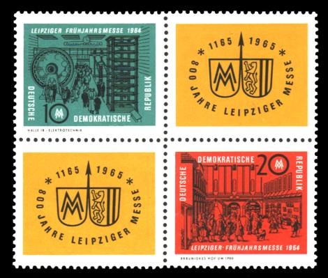 20 Pf / 10 Pf Briefmarke: Viererblock Frühjahrsmesse 1964