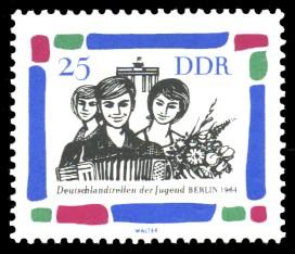 25 Pf Briefmarke: Deutschlandtreffen der Jugend Berlin 1964