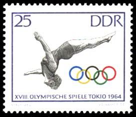 25 Pf Briefmarke: Olympische Spiele Tokio 1964