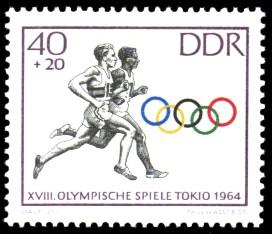 40 + 20 Pf Briefmarke: Olympische Spiele Tokio 1964