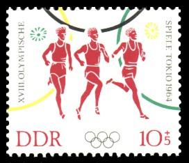 10 + 5 Pf Briefmarke: XVIII Olympische Spiele Tokio