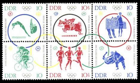 10 / 10+5 / 10 / 10 / 10+5 / 10 Pf Briefmarke: Sechserblock: XVIII Olympische Spiele Tokio