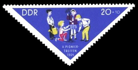 20 + 10 Pf Briefmarke: V. Pioniertreffen 1964