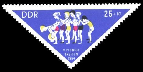 25 + 10 Pf Briefmarke: V. Pioniertreffen 1964
