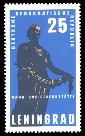 25 Pf Briefmarke: Mahn- und Gedenkstätte Leningrad
