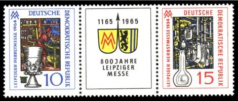 10 Pf / 15 Pf Briefmarke: Dreierstreifen: 800 Jahre Leipziger Messe