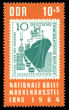 10 + 5 Pf Briefmarke: Nationale Briefmarkenausstellung 1964