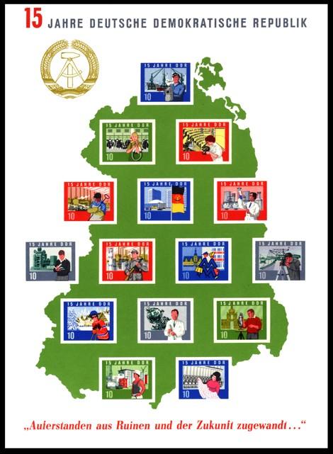 Briefmarke: Block: 15 Jahre DDR