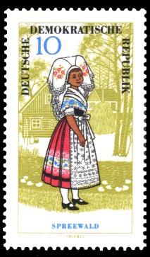 10 Pf Briefmarke: Volkstrachten, Spreewald