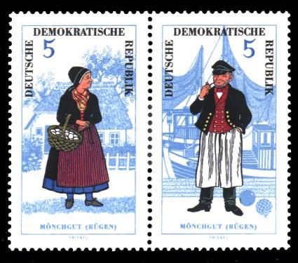 5 Pf / 5 Pf Briefmarke: Zusammendruck Volkstrachten, Mönchgut