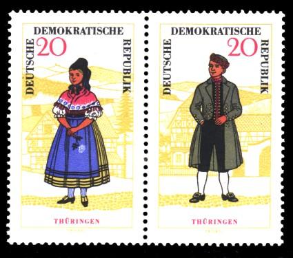 20 Pf / 20 Pf Briefmarke: Zusammendruck Volkstrachten, Thüringen