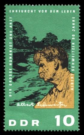 10 Pf Briefmarke: 90. Geburtstag Albert Schweitzer