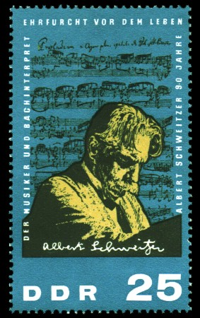 25 Pf Briefmarke: 90. Geburtstag Albert Schweitzer