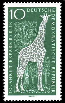10 Pf Briefmarke: 10 Jahre Tierpark Berlin, Giraffe