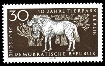 30 Pf Briefmarke: 10 Jahre Tierpark Berlin, Gnu
